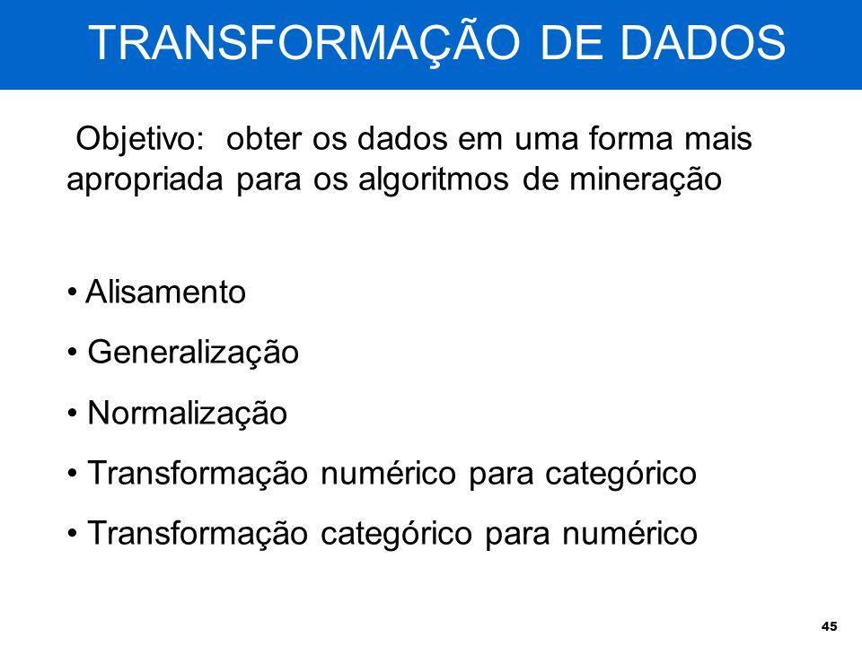 45 TRANSFORMAÇÃO DE DADOS Objetivo: obter os dados em uma forma mais apropriada para os algoritmos de mineração Alisamento Generalização Normalização