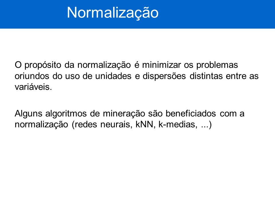 O propósito da normalização é minimizar os problemas oriundos do uso de unidades e dispersões distintas entre as variáveis. Alguns algoritmos de miner
