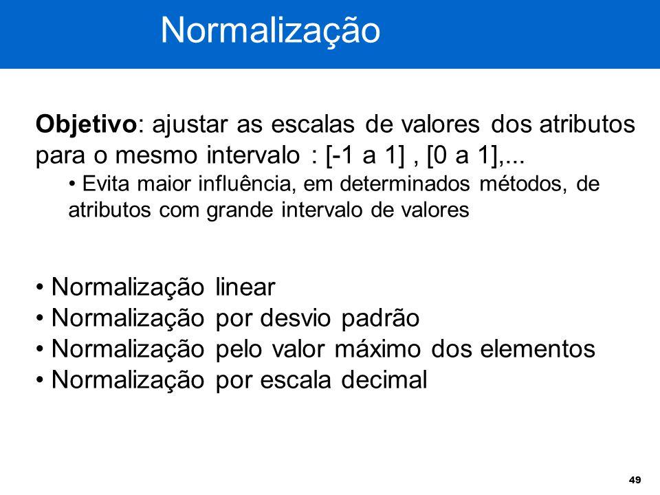 49 Objetivo: ajustar as escalas de valores dos atributos para o mesmo intervalo : [-1 a 1], [0 a 1],... Evita maior influência, em determinados método