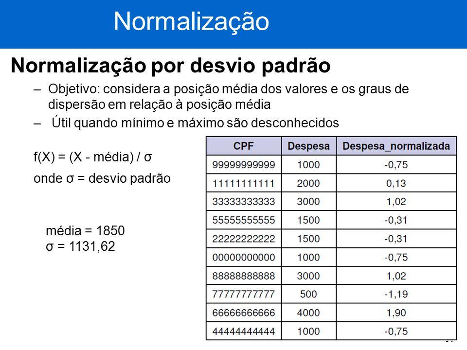 51 Normalização por desvio padrão –Objetivo: considera a posição média dos valores e os graus de dispersão em relação à posição média – Útil quando mí
