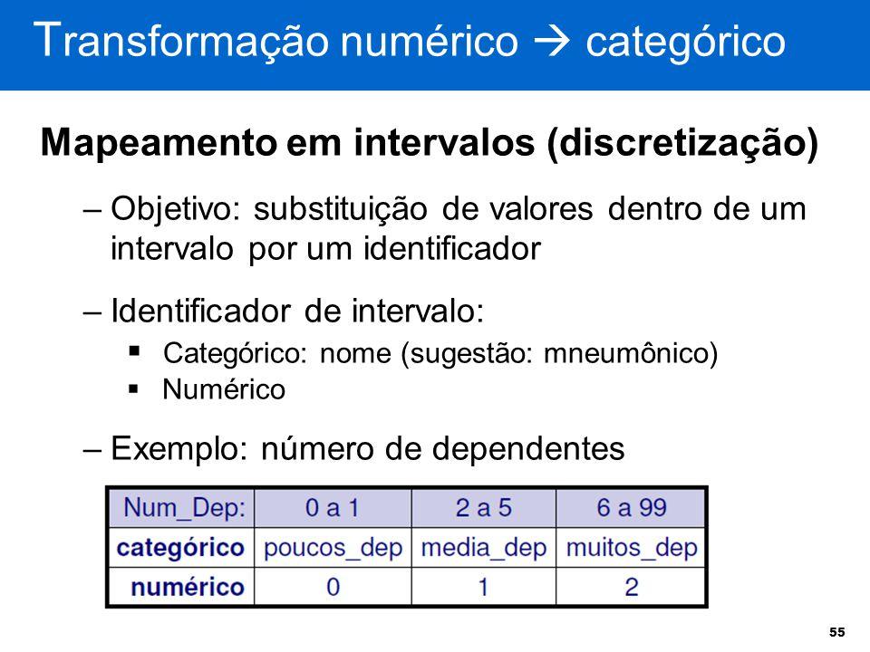55 Mapeamento em intervalos (discretização) –Objetivo: substituição de valores dentro de um intervalo por um identificador –Identificador de intervalo