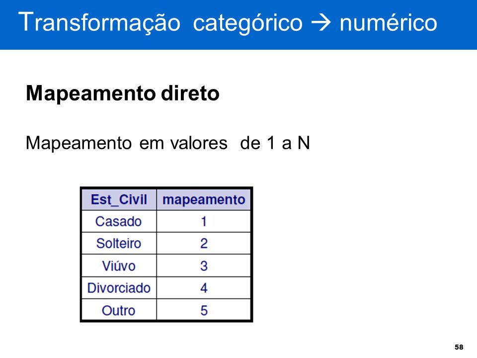 58 T ransformação categórico  numérico Mapeamento direto Mapeamento em valores de 1 a N