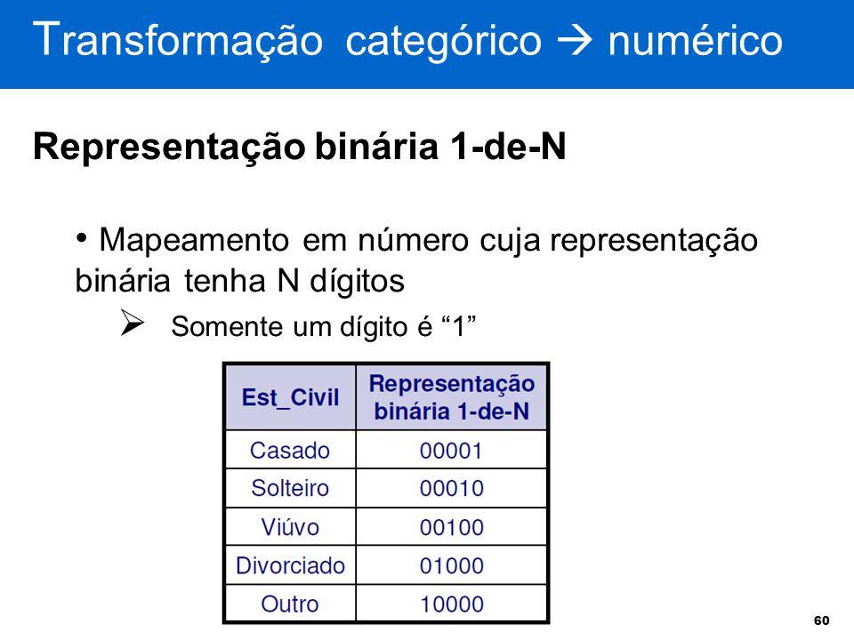 60 T ransformação categórico  numérico Representação binária 1-de-N Mapeamento em número cuja representação binária tenha N dígitos  Somente um dígi