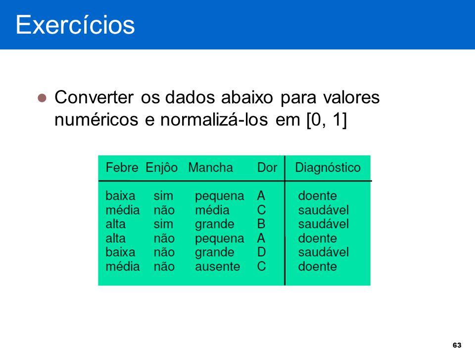 Converter os dados abaixo para valores numéricos e normalizá-los em [0, 1] 63 Exercícios