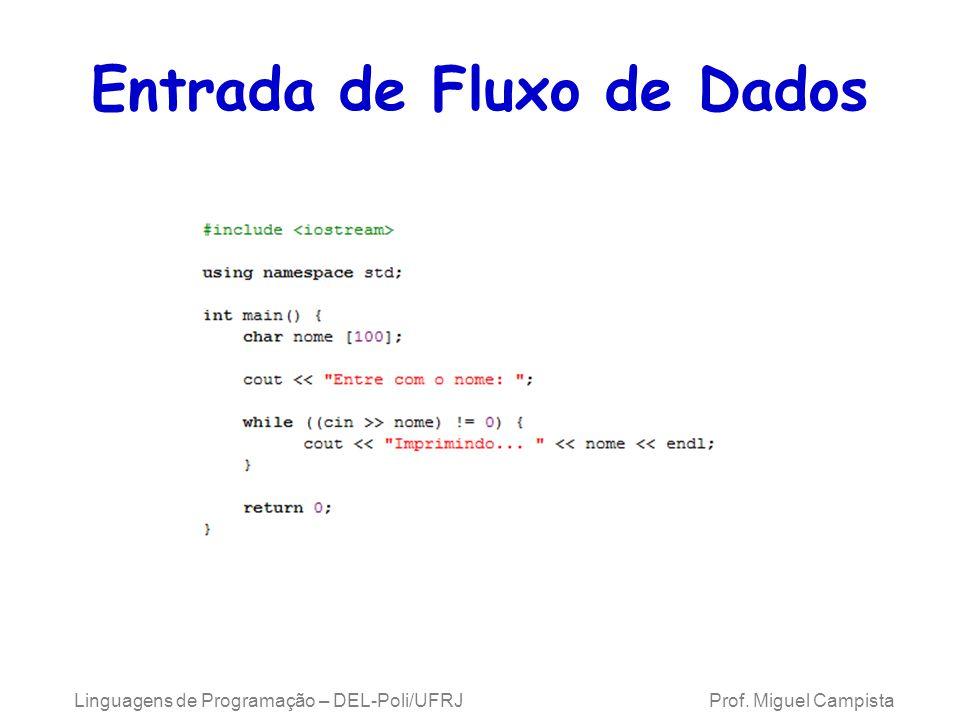 Entrada de Fluxo de Dados Linguagens de Programação – DEL-Poli/UFRJ Prof. Miguel Campista