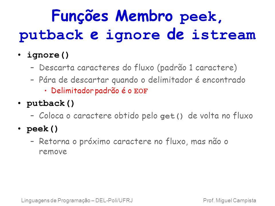 Funções Membro peek, putback e ignore de istream ignore() –Descarta caracteres do fluxo (padrão 1 caractere) –Pára de descartar quando o delimitador é encontrado Delimitador padrão é o EOF putback() –Coloca o caractere obtido pelo get() de volta no fluxo peek() –Retorna o próximo caractere no fluxo, mas não o remove Linguagens de Programação – DEL-Poli/UFRJ Prof.