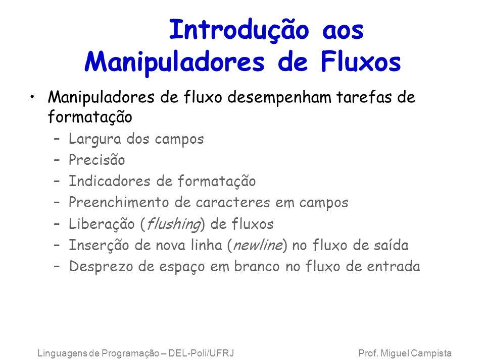 Introdução aos Manipuladores de Fluxos Manipuladores de fluxo desempenham tarefas de formatação –Largura dos campos –Precisão –Indicadores de formatação –Preenchimento de caracteres em campos –Liberação (flushing) de fluxos –Inserção de nova linha (newline) no fluxo de saída –Desprezo de espaço em branco no fluxo de entrada Linguagens de Programação – DEL-Poli/UFRJ Prof.