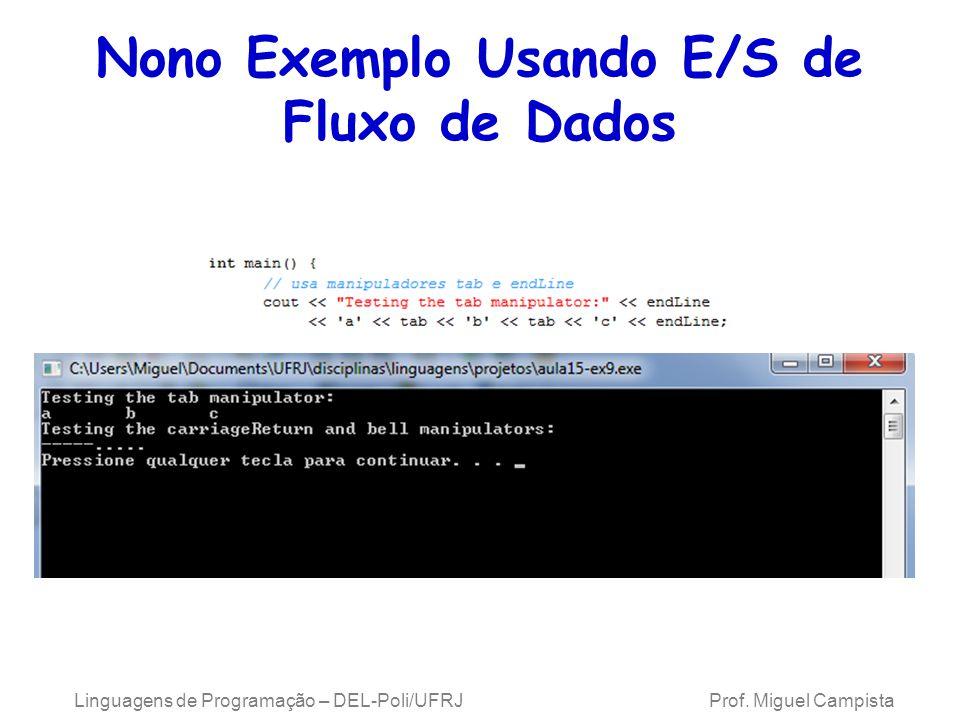 Nono Exemplo Usando E/S de Fluxo de Dados Linguagens de Programação – DEL-Poli/UFRJ Prof.
