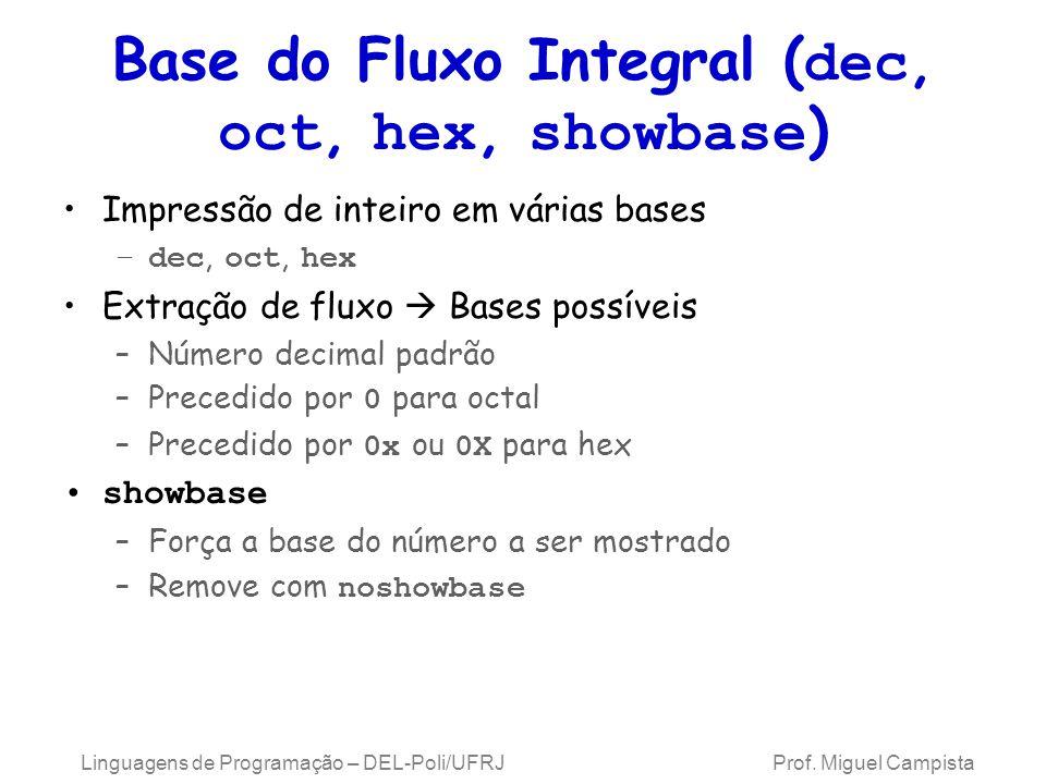 Base do Fluxo Integral ( dec, oct, hex, showbase ) Impressão de inteiro em várias bases –dec, oct, hex Extração de fluxo  Bases possíveis –Número decimal padrão –Precedido por 0 para octal –Precedido por 0x ou 0X para hex showbase –Força a base do número a ser mostrado –Remove com noshowbase Linguagens de Programação – DEL-Poli/UFRJ Prof.