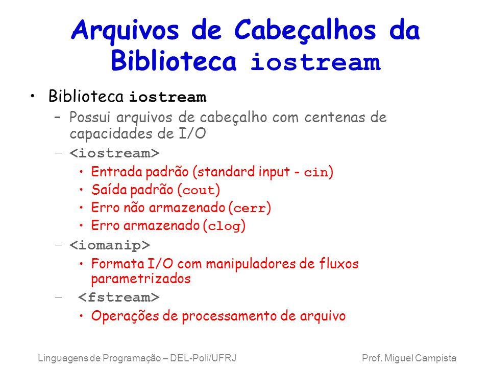 Classes e Objetos para Entrada/Saída deDados Biblioteca iostream tem classes templates para I/O –basic_istream (fluxo de entrada) –basic_ostream (fluxo de saída) –basic_iostream (fluxo de entrada e saída) Cada template tem uma especialização pré-definida –Permite char I/O typedef declara alias para as especializações –typedef Card *CardPtr; CardPtr sinônimo para Card * –typedef s istream, ostream, iostream Ex.: typedef istream representa uma especialização da basic_istream que permite entrada de char Linguagens de Programação – DEL-Poli/UFRJ Prof.
