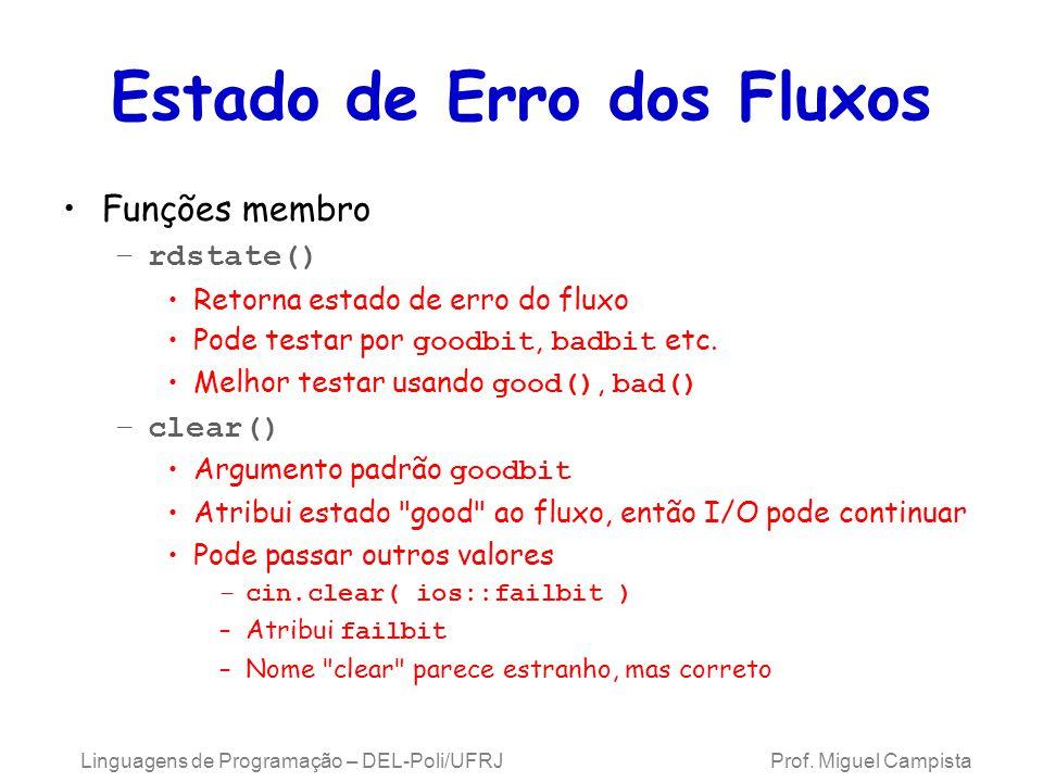 Estado de Erro dos Fluxos Funções membro –rdstate() Retorna estado de erro do fluxo Pode testar por goodbit, badbit etc.