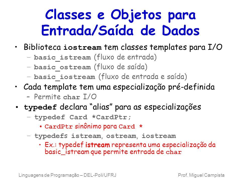 Classes e Objetos para Entrada/Saída deDados Templates derivam da basic_ios Linguagens de Programação – DEL-Poli/UFRJ Prof.