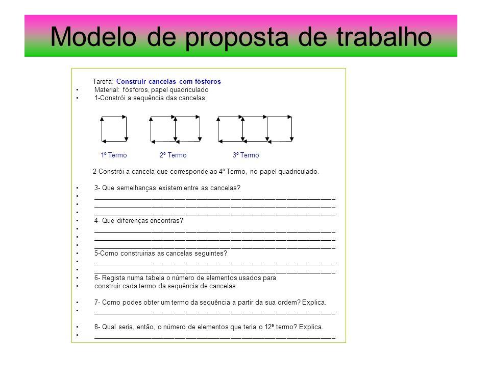 Modelo de proposta de trabalho Tarefa: Construir cancelas com fósforos Material: fósforos, papel quadriculado 1-Constrói a sequência das cancelas: 1º
