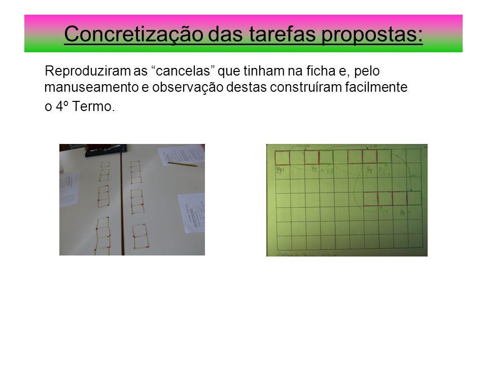 """Concretização das tarefas propostas: Reproduziram as """"cancelas"""" que tinham na ficha e, pelo manuseamento e observação destas construíram facilmente o"""