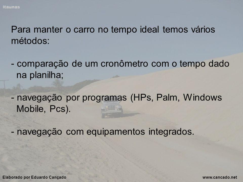 Para manter o carro no tempo ideal temos vários métodos: - comparação de um cronômetro com o tempo dado na planilha; - navegação por programas (HPs, Palm, Windows Mobile, Pcs).
