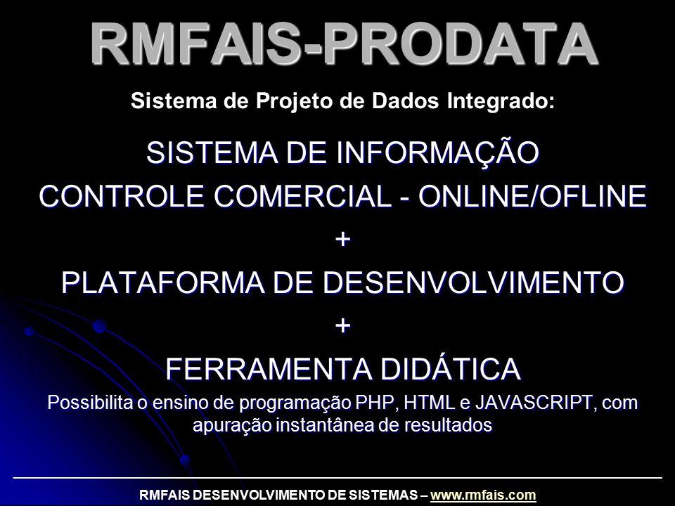 RMFAIS-PRODATA SISTEMA DE INFORMAÇÃO CONTROLE COMERCIAL - ONLINE/OFLINE + PLATAFORMA DE DESENVOLVIMENTO + FERRAMENTA DIDÁTICA Possibilita o ensino de programação PHP, HTML e JAVASCRIPT, com apuração instantânea de resultados Sistema de Projeto de Dados Integrado: _________________________________________________________________________________________ RMFAIS DESENVOLVIMENTO DE SISTEMAS – www.rmfais.comwww.rmfais.com