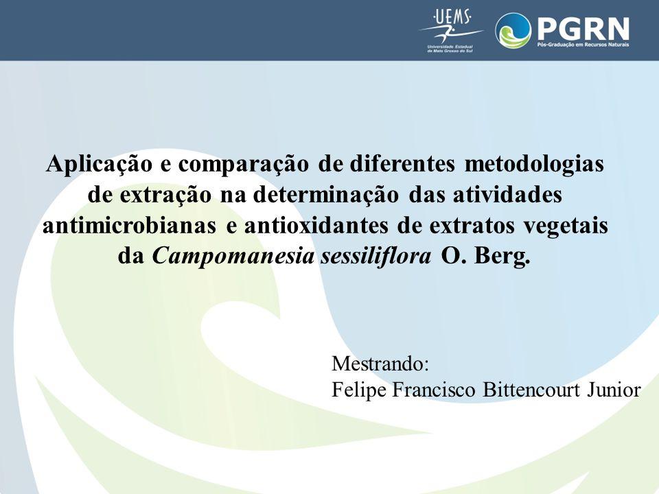 Aplicação e comparação de diferentes metodologias de extração na determinação das atividades antimicrobianas e antioxidantes de extratos vegetais da C