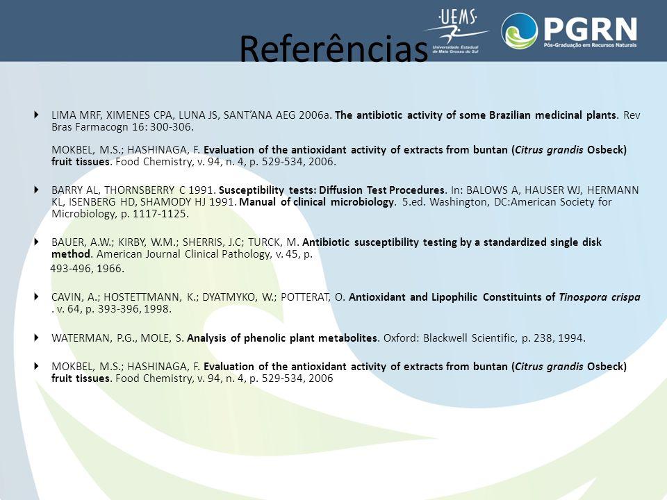  LIMA MRF, XIMENES CPA, LUNA JS, SANT'ANA AEG 2006a. The antibiotic activity of some Brazilian medicinal plants. Rev Bras Farmacogn 16: 300-306. MOKB