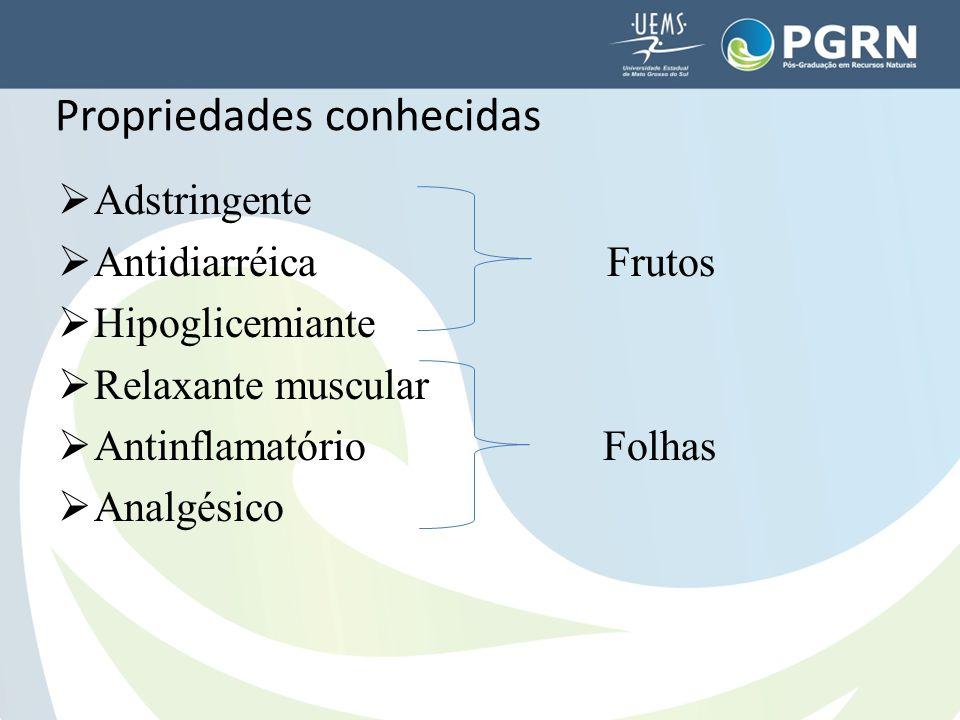  Adstringente  Antidiarréica Frutos  Hipoglicemiante  Relaxante muscular  Antinflamatório Folhas  Analgésico Propriedades conhecidas