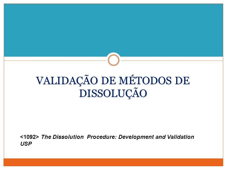 VALIDAÇÃO DE MÉTODOS DE DISSOLUÇÃO The Dissolution Procedure: Development and Validation USP