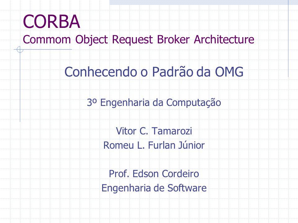 CORBA Commom Object Request Broker Architecture Conhecendo o Padrão da OMG 3º Engenharia da Computação Vitor C. Tamarozi Romeu L. Furlan Júnior Prof.