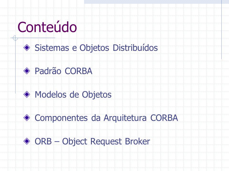 Conteúdo Sistemas e Objetos Distribuídos Padrão CORBA Modelos de Objetos Componentes da Arquitetura CORBA ORB – Object Request Broker