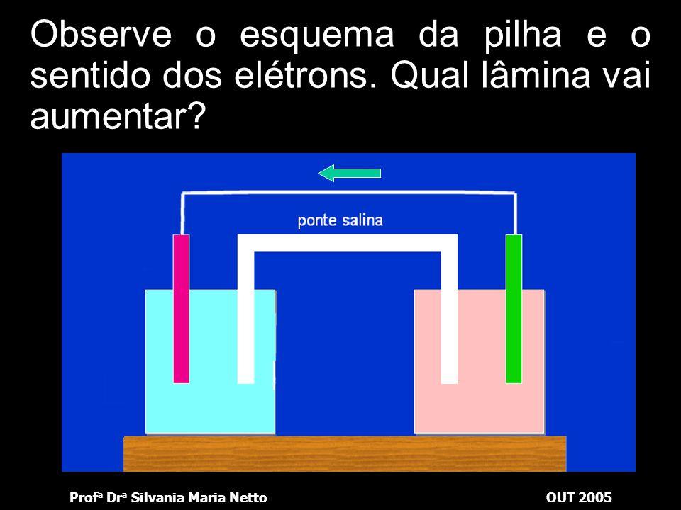 Prof a Dr a Silvania Maria NettoOUT 2005 Observe o esquema da pilha e o sentido dos elétrons. Qual eletrodo constitui o anodo?anodo