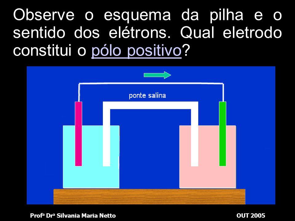 Prof a Dr a Silvania Maria NettoOUT 2005 Observe o esquema da pilha e o sentido dos elétrons. Que solução se concentra?