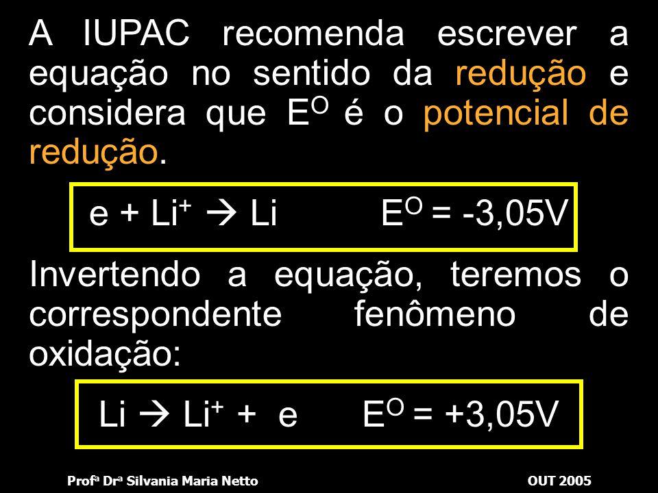 Prof a Dr a Silvania Maria NettoOUT 2005 A esse eletrodo padrão associou-se o valor de potencial nulo. Então, para medir o potencial de um eletrodo, b