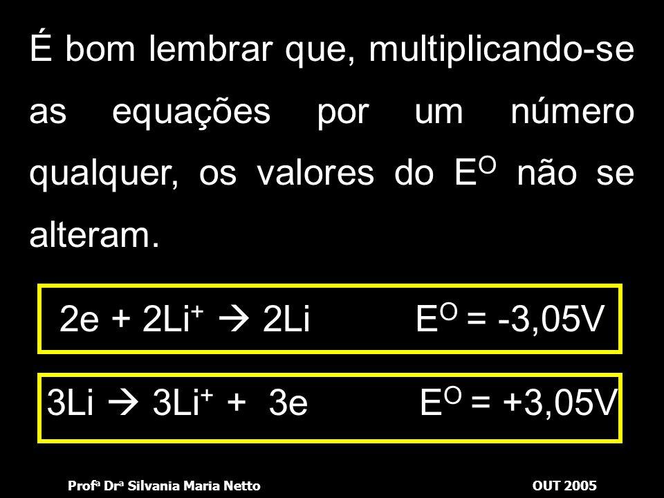 Prof a Dr a Silvania Maria NettoOUT 2005 A IUPAC recomenda escrever a equação no sentido da redução e considera que E O é o potencial de redução. e +