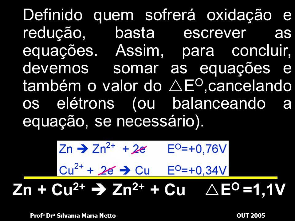 Prof a Dr a Silvania Maria NettoOUT 2005 Poderia ter retirado os dados da tabela de potenciais-padrão de forma inversa: Zn 2+ + 2e  Zn E O = - 0,76V