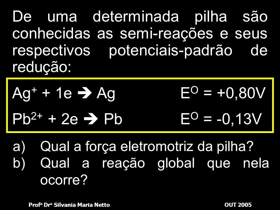 Prof a Dr a Silvania Maria NettoOUT 2005 Definido quem sofrerá oxidação e redução, basta escrever as equações. Assim, para concluir, devemos somar as