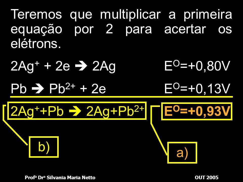 Prof a Dr a Silvania Maria NettoOUT 2005 Ag + + 1e  AgE O = +0,80V Pb  Pb 2+ + 2e E O = +0,13V Teremos que multiplicar a primeira equação por 2 para