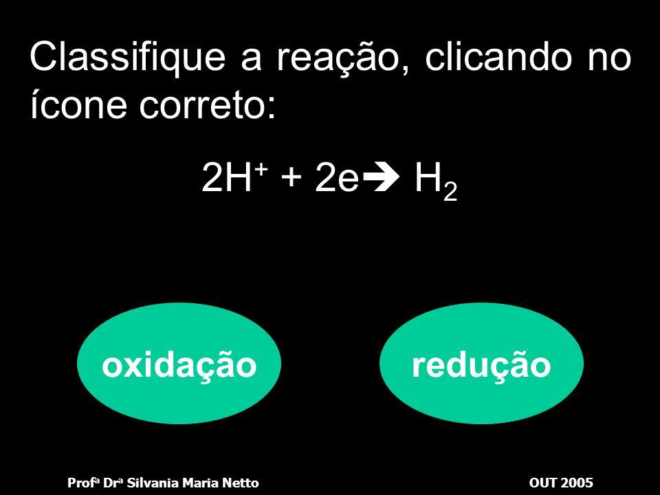 Prof a Dr a Silvania Maria NettoOUT 2005 Vejamos se você está por dentro: Classifique a reação, clicando no ícone correto: Mg  Mg 2+ + 2e oxidaçãored