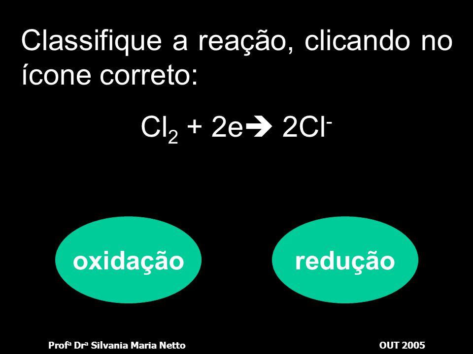 Prof a Dr a Silvania Maria NettoOUT 2005 Classifique a reação, clicando no ícone correto: Zn  Zn 2+ + 2e oxidaçãoredução
