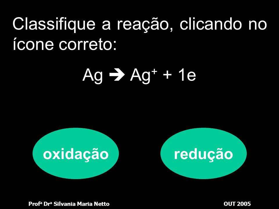 Prof a Dr a Silvania Maria NettoOUT 2005 Classifique a reação, clicando no ícone correto: Cl 2 + 2e  2Cl - oxidaçãoredução