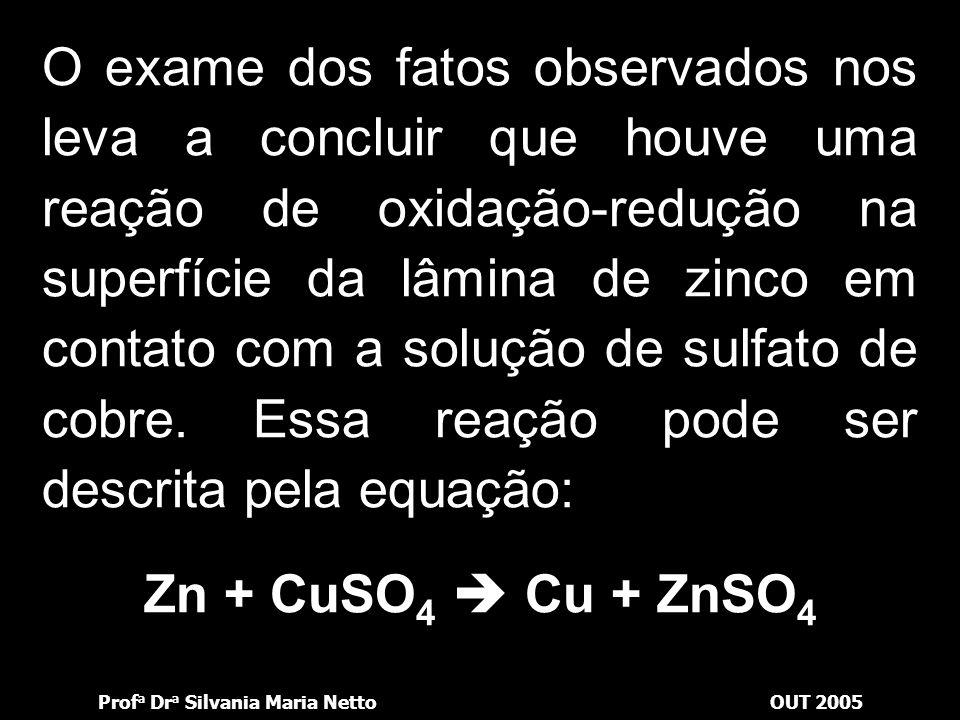 Prof a Dr a Silvania Maria NettoOUT 2005 Retirando a lâmina de zinco da solução, verificamos que a parte que estava submersa está recoberta por uma fi
