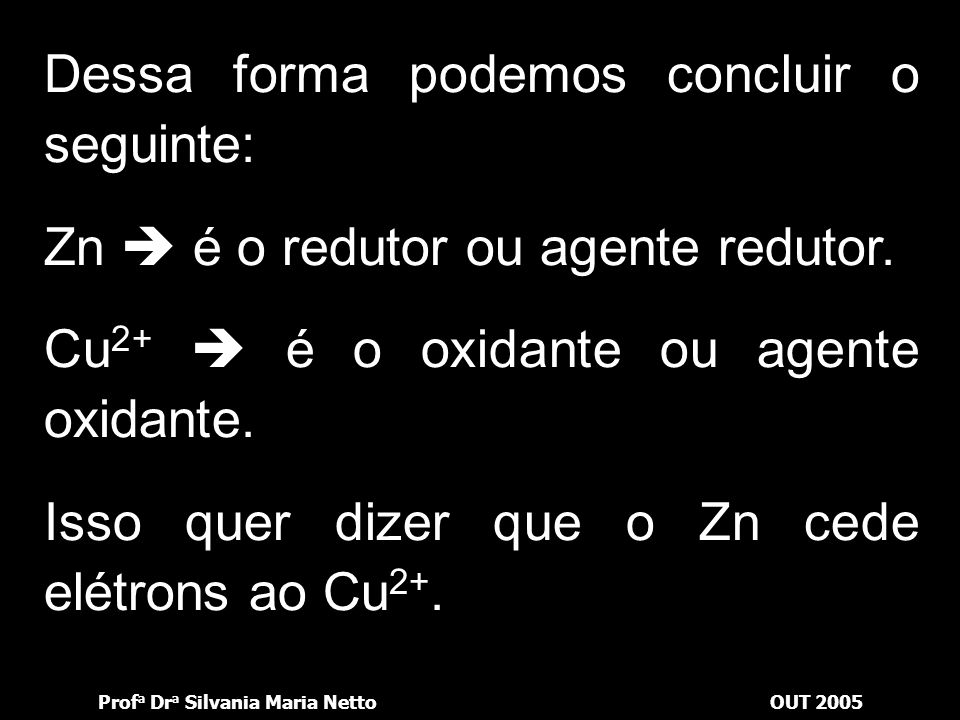 Prof a Dr a Silvania Maria NettoOUT 2005 Zn + Cu 2+  Cu + Zn 2+ lâminaSolução Deposita-se na lâmina Passa para a solução Elétrons