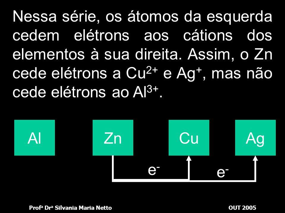 Prof a Dr a Silvania Maria NettoOUT 2005 Nessa série, os átomos da esquerda cedem elétrons aos cátions dos elementos à sua direita. Assim, o Al cede e