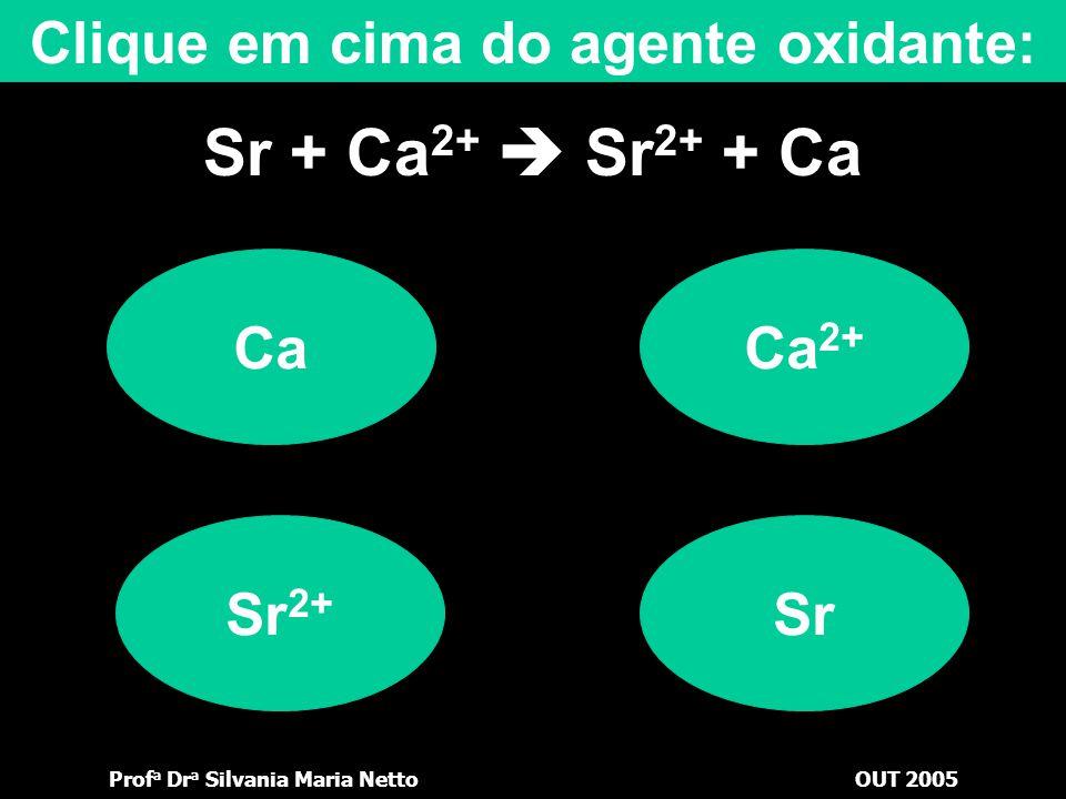 Prof a Dr a Silvania Maria NettoOUT 2005 Sr + Ca 2+  Sr 2+ + Ca OcorreNão ocorre Cs  Li  K  Ba  Sr  Ca  Na  Mg  Al  Mn  Be  Zn  Cr  Fe 