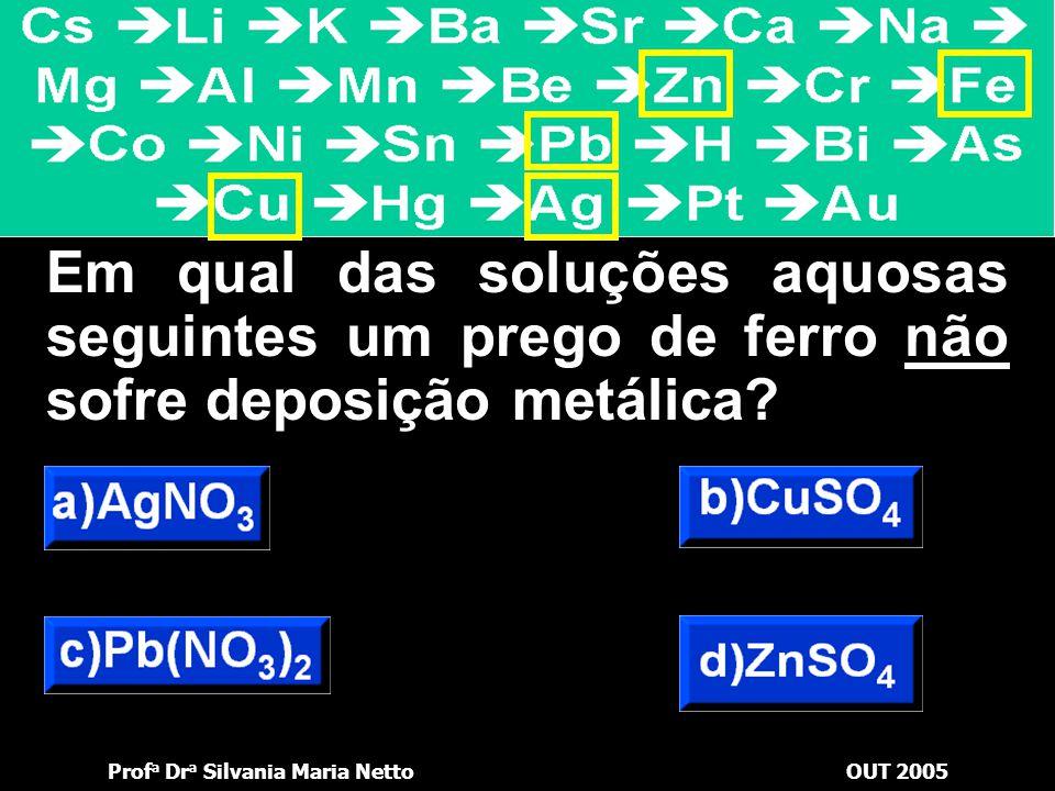 Prof a Dr a Silvania Maria NettoOUT 2005 Mg + Zn 2+  Zn + Mg 2+ lâminaSolução Deposita-se na lâmina Passa para a solução Elétrons
