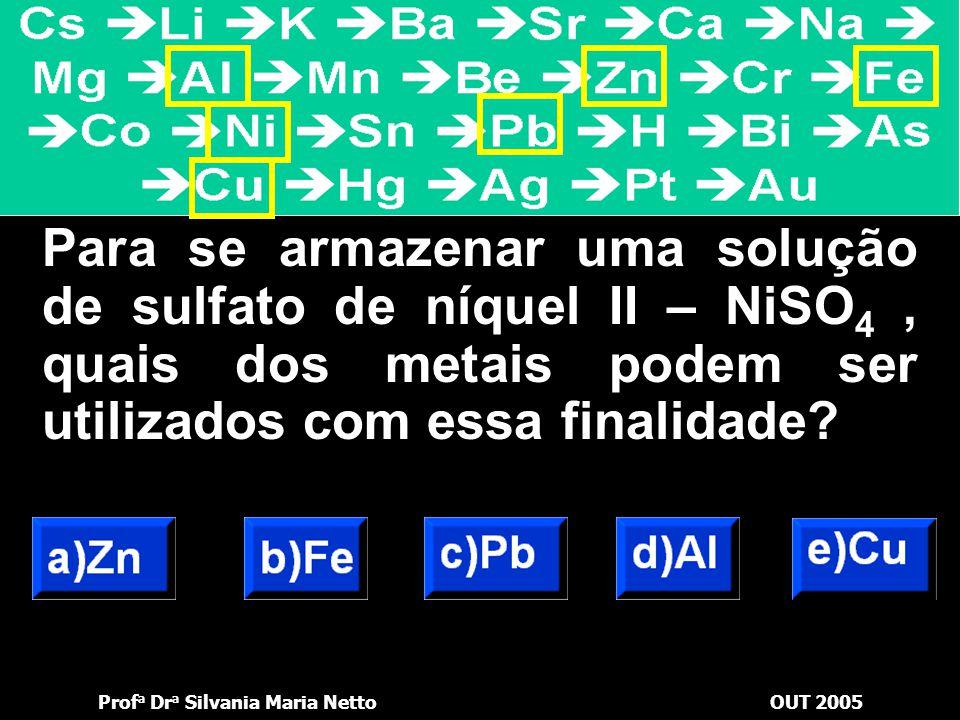 Prof a Dr a Silvania Maria NettoOUT 2005 Em qual das soluções aquosas seguintes um prego de ferro não sofre deposição metálica?