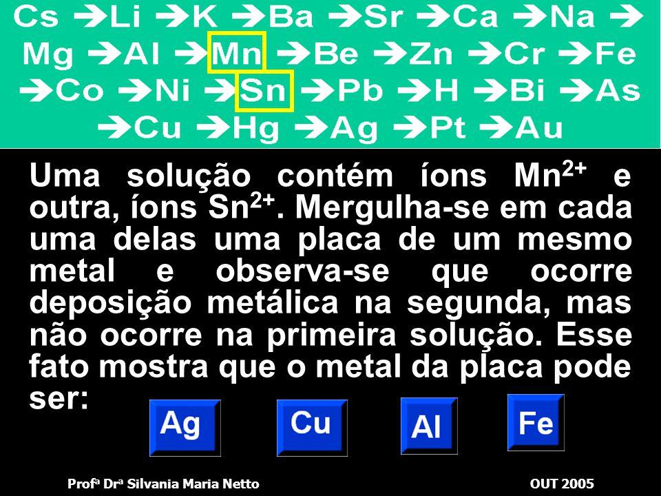 Prof a Dr a Silvania Maria NettoOUT 2005 Para se armazenar uma solução de sulfato de níquel II – NiSO 4, quais dos metais podem ser utilizados com ess