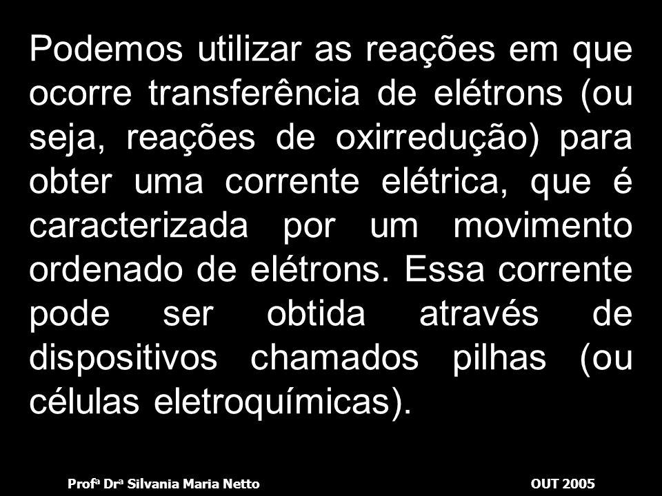 Prof a Dr a Silvania Maria NettoOUT 2005 Considere as seguintes soluções aquosas: CuSO 4, FeSO 4 e AgNO 3. Em cada uma delas mergulha-se um pedaço de