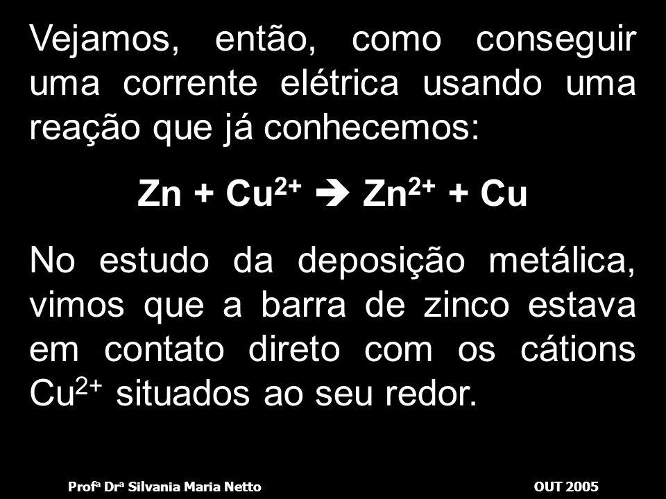 Prof a Dr a Silvania Maria NettoOUT 2005 Podemos utilizar as reações em que ocorre transferência de elétrons (ou seja, reações de oxirredução) para ob