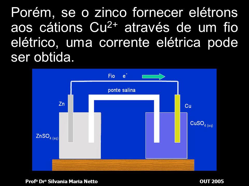 Prof a Dr a Silvania Maria NettoOUT 2005 Desse modo, os elétrons que saíam da barra rumo aos íons Cu 2+ tinham um movimento desordenado, sem um direci