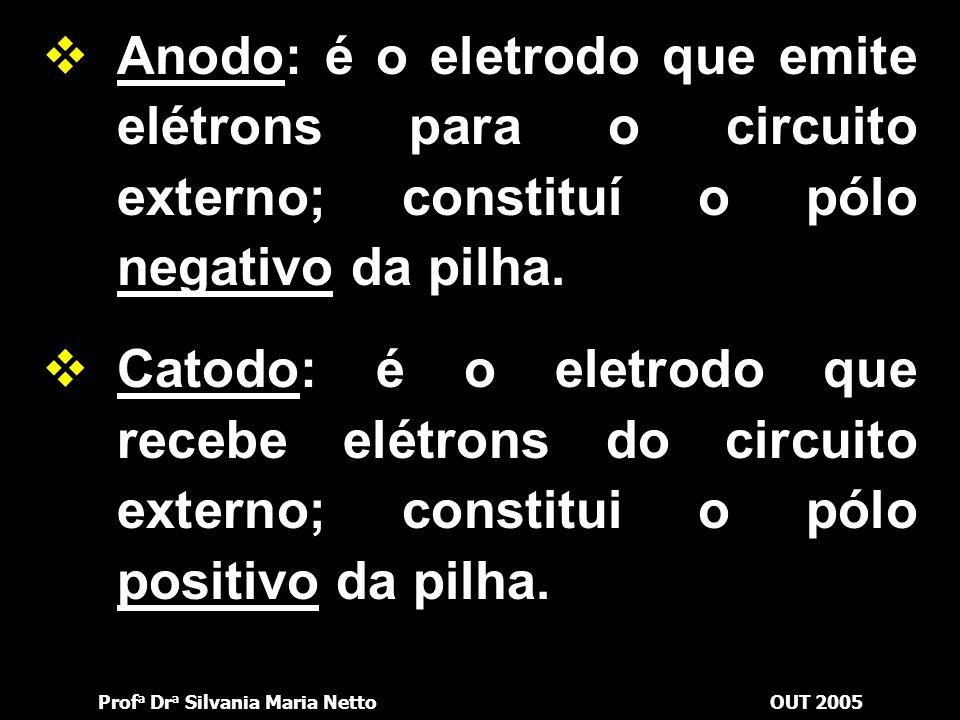 Prof a Dr a Silvania Maria NettoOUT 2005  Eletrodo: é o conjunto formado pela placa metálica e pela solução. No caso anterior, a placa de cobre e a s
