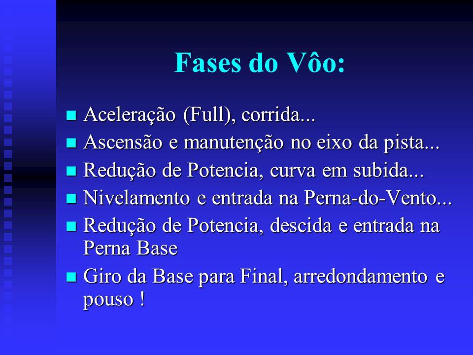 Fases do Vôo: Aceleração (Full), corrida... Aceleração (Full), corrida...