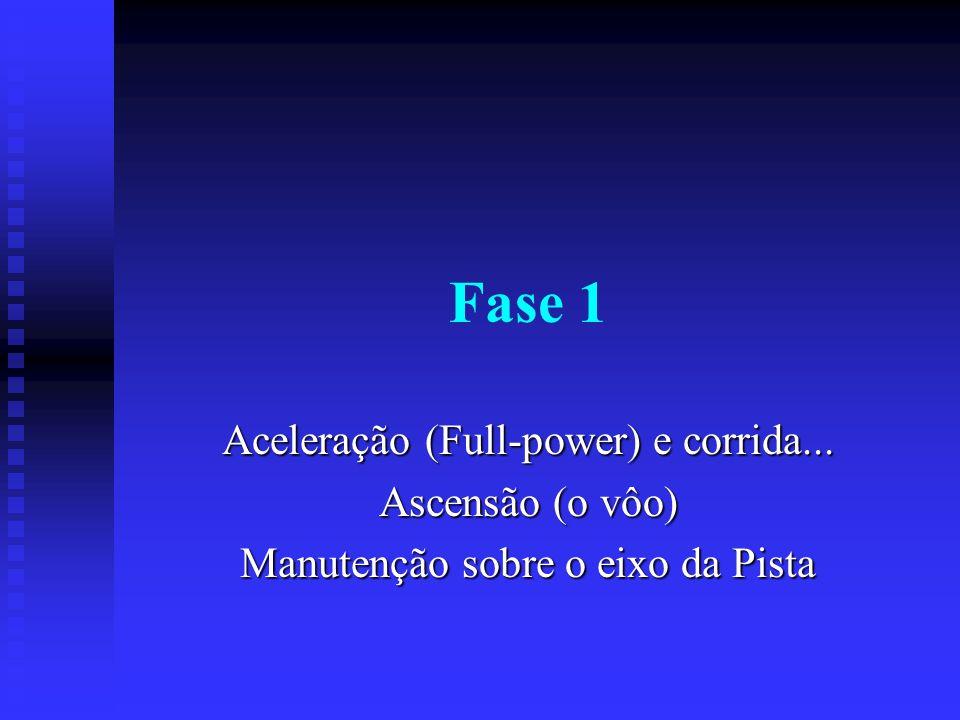 Fase 1 Aceleração (Full-power) e corrida... Ascensão (o vôo) Manutenção sobre o eixo da Pista