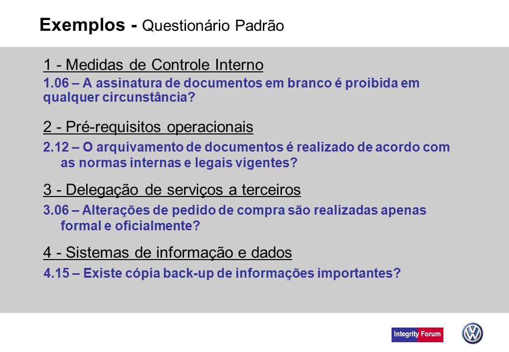 Integrity Forum Exemplos - Questionário Padrão 1 - Medidas de Controle Interno 1.06 – A assinatura de documentos em branco é proibida em qualquer circ